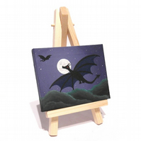 Miniature Dragon Painting - original acrylic art of dragons in night sky
