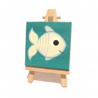 X-Ray Fish Miniature Art - original acrylic painting on mini canvas with easel