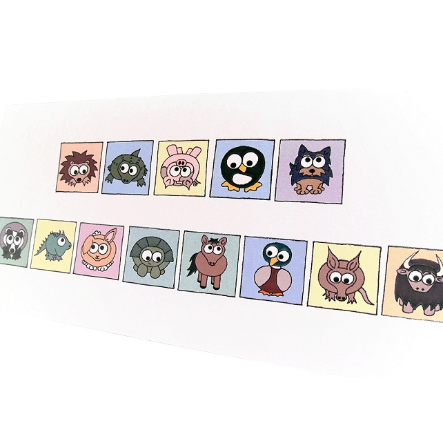 Cryptic Happy Birthday Card - cute animals spell out message. CT-YBA