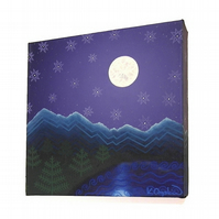 Moonlit Mountain Landscape Original Canvas Art