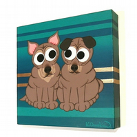Shar Pei Dogs Cartoon Painting on Striped Canvas
