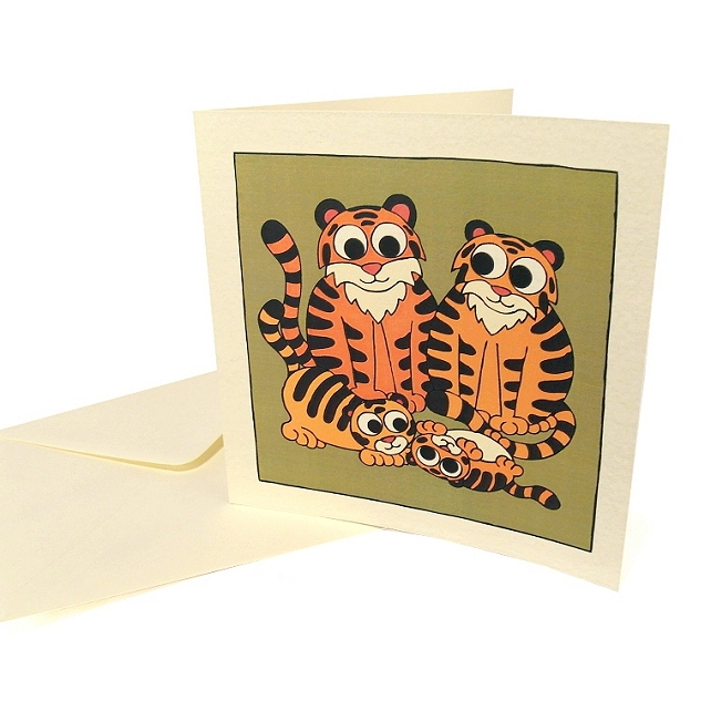 Tiger Family Card - blank card with cute cartoon tigers. CQ-TF