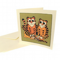 Tiger Family Card - blank inside. CQ-TF