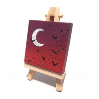 Bats at Dusk Miniature Canvas - mini acrylic painting with bat silhouettes