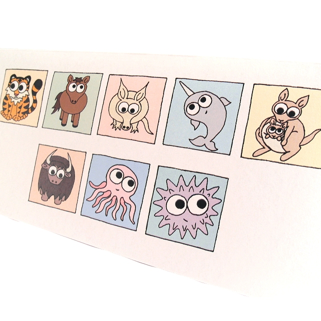 Cryptic Animals Thank You Card - cute animals spell out message