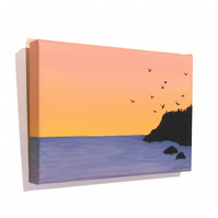 Dawn Seascape Small Acrylic Painting - original art with bird silhouettes