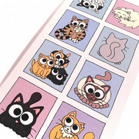 Cartoon Cats Card - blank inside. A variety of cute cats in blue boxes