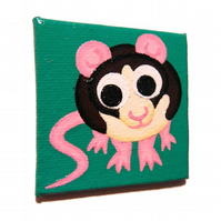 Cute Rat Fridge Magnet - original painting of a cartoon black and white rat
