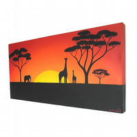 African Landscape Original Acrylic Painting - giraffes at sunset canvas art