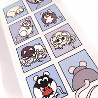 Cute Rats Card - blank card with cartoon rodents in blue squares. CT-RTB
