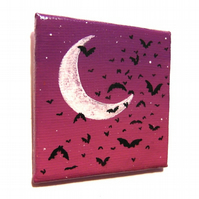 Bats at Dusk Fridge Magnet - small original acrylic moon painting