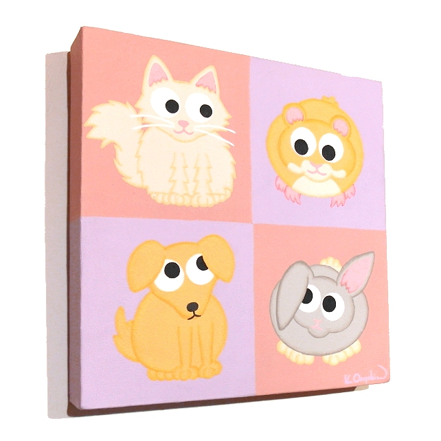 Cute Pets Nursery Decor - original acrylic art of a cat, dog, hamster and rabbit
