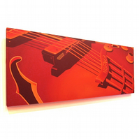 Hofner Guitar Original Painting - large acrylic canvas art of a red guitar