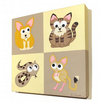 Cute Desert Animals Nursery Art - original painting of cartoon creatures