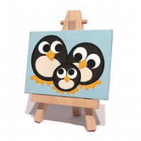 Penguin Family Mini Canvas - original acrylic painting of cute penguins