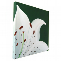 White Lily Original Painting - acrylic art of a white flower