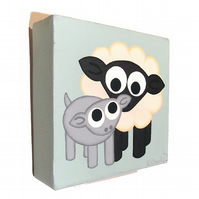 Sheep and Lamb Nursery Art - small acrylic painting of cute farmyard animals