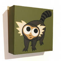 Cartoon Marmoset Painting - original acrylic art of a cute monkey