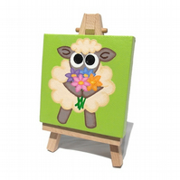 Sheep With Flowers Mini Canvas Art with Easel