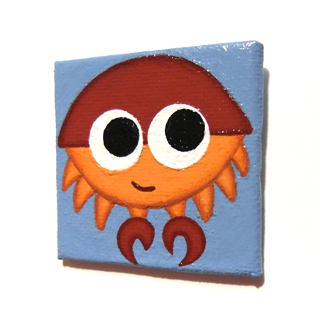 Handpainted Cartoon Crab Fridge Magnet