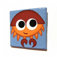 Cartoon Crab Fridge Magnet - original hand painted art of a cute little crab