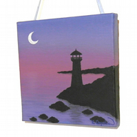 Lighthouse at Dusk Original Art - small acrylic painting of an evening seascape