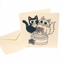 "Cute Cat Wedding Card - ""wishing you a purrfect day"". CQ-CW"