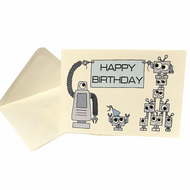 Cute Robot Birthday Card - CA-RB