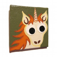Ginger Unicorn Magnet - original painted magnet with a cartoon redhead unicorn