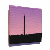 Emley Moor Tower at Dawn Magnet - original Huddersfield landscape mini painting