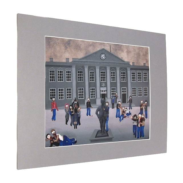Zombie Invasion Print with Mount - Huddersfield scene with zombies