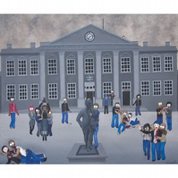 Zombie Invasion Print - Huddersfield train station with zombies
