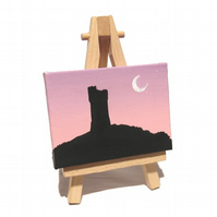 Caste Hill at Dusk Original Mini Art - Huddersfield landscape miniature canvas