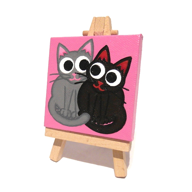 Pair of Cats Mini Canvas and Easel - original acrylic art of black and grey cats
