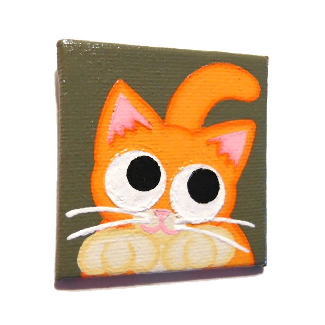 Cute Ginger Cat Fridge Magnet - original acrylic art of a cartoon cat