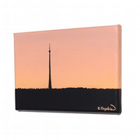 Emley Moor Tower at Dawn Original Art - small painting of Yorkshire landmark
