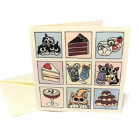 Cats, Cake and Cocktails Card - cute square card suitable for birthday. CQ-CCC