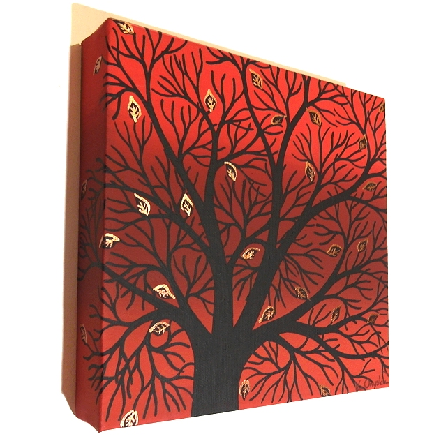 Autumn Tree Canvas Art - original acrylic painting of tree branches silhouette