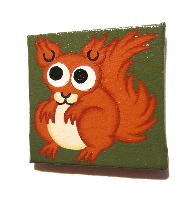Cute Red Squirrel Handpainted Magnet