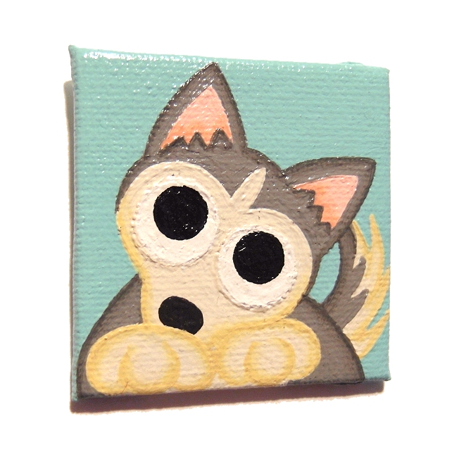 Cute Husky Magnet - hand painted fridge magnet with a cartoon dog