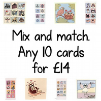 Bulk set of cards - mix and match any 10 greeting cards
