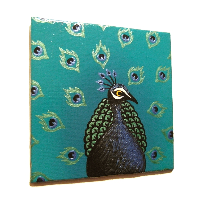 Original Peacock Fridge Magnet - handpainted magnet with colourful bird