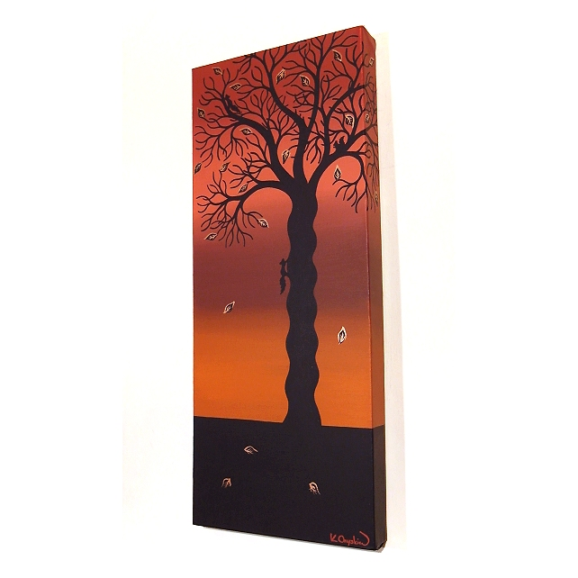 Autumn Tree Canvas Art - original painting of tree silhouette with squirrels