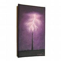 Lightning Strikes Emley Original Painting - small acrylic art of Yorkshire scene