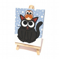 Cat and Robin Mini Painting - original art of a cute black cat and bird in snow