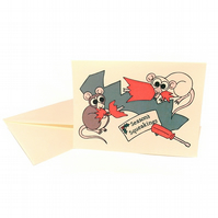 Season's Squeakings - cute Christmas card with cartoon rats. CA-XSS