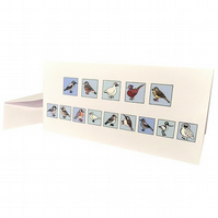 Cryptic Birds Happy Christmas Card - cute European birds spell message. CT-XYB