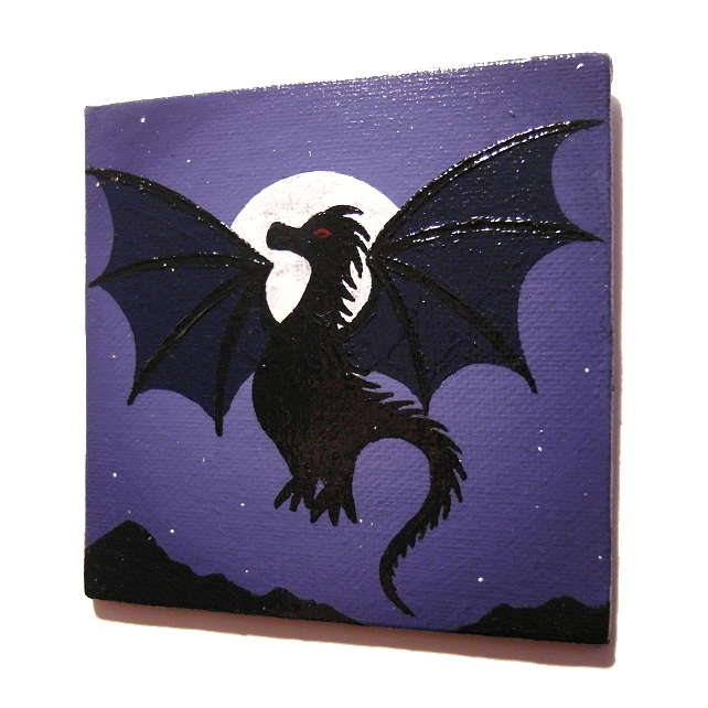 Moonlit Dragon Original Painted Magnet