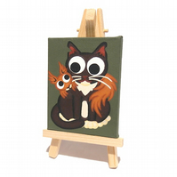 Red Squirrel and Cat Cute Mini Art