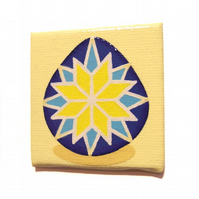 Blue and Yellow Pysanka Magnet